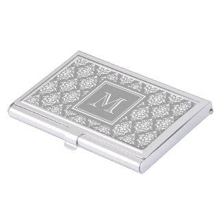 Modelo gris 1 del damasco con el monograma caja de tarjetas de visita