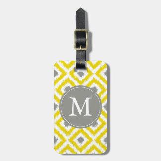 Modelo gris amarillo con monograma de Ikat de los  Etiqueta De Equipaje