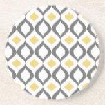 Modelo gris amarillo geométrico retro de Ikat Posavasos De Arenisca