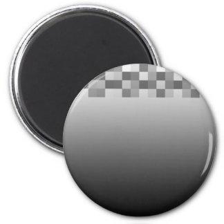 Modelo gris, blanco y negro de los cuadrados imán redondo 5 cm