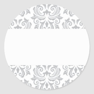 Modelo gris claro y blanco adornado elegante del pegatinas redondas