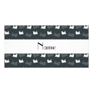 Modelo gris conocido personalizado del tren tarjetas personales con fotos