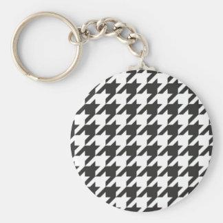 Modelo gris de Houndstooth, blanco y negro inconsú Llavero Redondo Tipo Pin