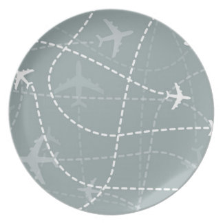 Modelo gris de la trayectoria de vuelo platos de comidas