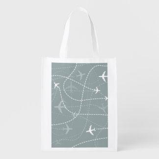 Modelo gris de la trayectoria de vuelo bolsas de la compra