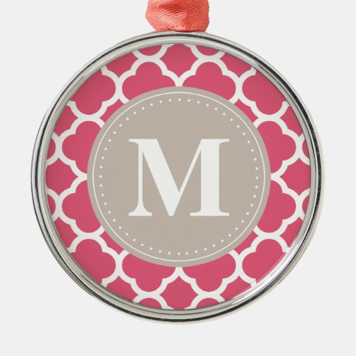 Modelo gris de lino de Quatrefoil del rosa del Adorno Redondo Plateado