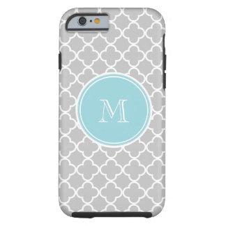 Modelo gris de Quatrefoil, monograma azul Funda Para iPhone 6 Tough