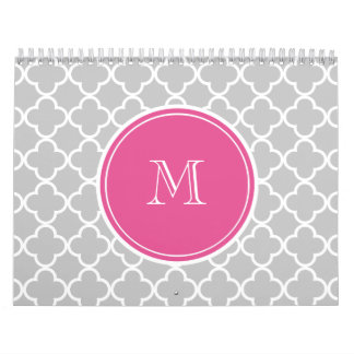 Modelo gris de Quatrefoil, monograma de las rosas Calendarios De Pared