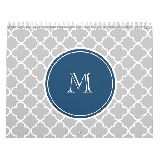 Modelo gris de Quatrefoil, monograma de los azules Calendario
