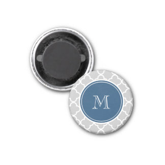 Modelo gris de Quatrefoil, monograma de los azules Iman