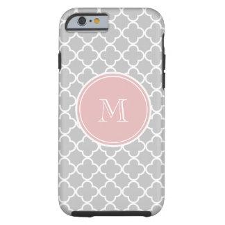 Modelo gris de Quatrefoil, monograma rosado Funda De iPhone 6 Tough