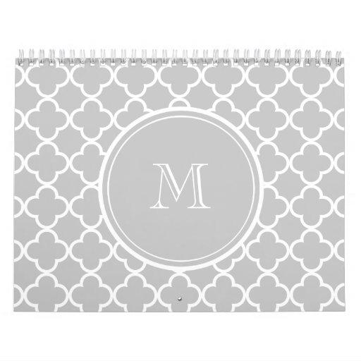 Modelo gris de Quatrefoil, su monograma Calendarios De Pared