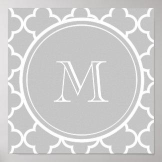 Modelo gris de Quatrefoil, su monograma Póster