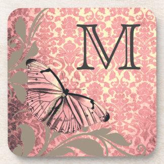 Modelo gris del damasco de la mariposa del rosa el posavasos de bebidas