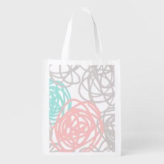 Modelo gris del Doodle del rosa del trullo Bolsa Para La Compra