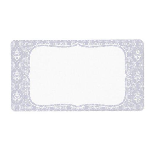 Modelo gris delicado del damasco etiqueta de envío
