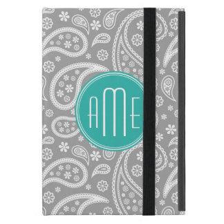 Modelo gris floral elegante de Paisley y monograma iPad Mini Funda