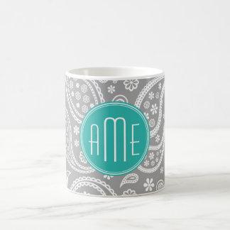 Modelo gris floral elegante de Paisley y monograma Taza De Café