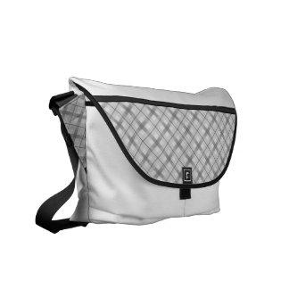 Modelo gris grande de la tela escocesa bolsas de mensajería