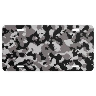 Modelo gris militar del camuflaje placa de matrícula