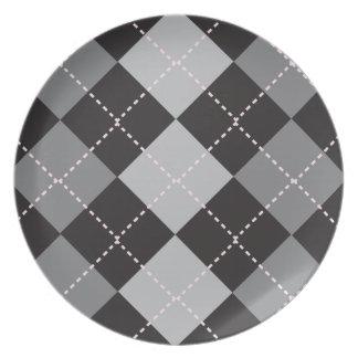 Modelo gris negro de Argyle Plato Para Fiesta