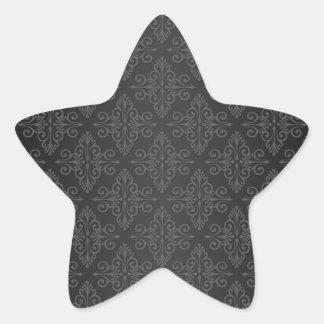 Modelo gris negro del damasco del carbón de leña pegatina en forma de estrella