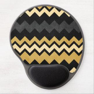 Modelo gris negro moderno de Chevron del oro Alfombrilla De Ratón Con Gel