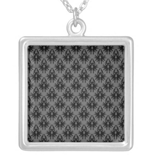 Modelo gris negro y profundo del damasco collares personalizados