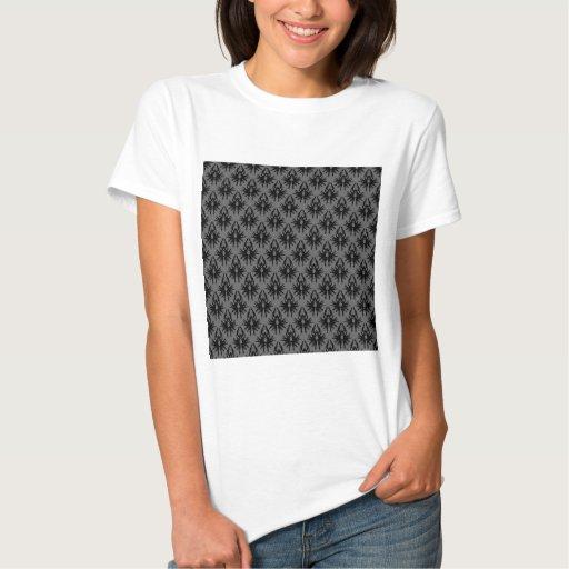 Modelo gris negro y profundo del damasco t-shirts