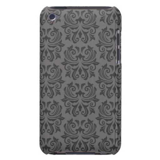 Modelo gris oscuro adornado elegante del damasco barely there iPod carcasas