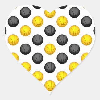Modelo gris oscuro y del oro del baloncesto calcomanías corazones personalizadas