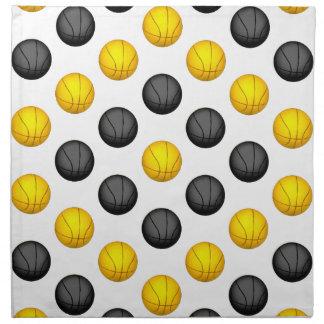 Modelo gris oscuro y del oro del baloncesto servilletas de papel