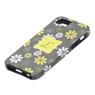 Modelo gris y amarillo del monograma de la flor iPhone 5 Case-Mate protectores