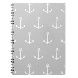Modelo gris y blanco 1 de las anclas cuadernos