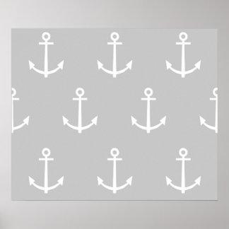 Modelo gris y blanco 1 de las anclas poster