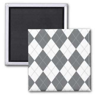Modelo gris y blanco de Argyle Imán Cuadrado