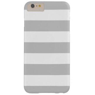 Modelo gris y blanco intrépido de las rayas funda de iPhone 6 plus barely there