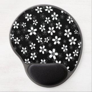 Modelo gris y blanco negro elegante de Sakura Alfombrillas De Ratón Con Gel