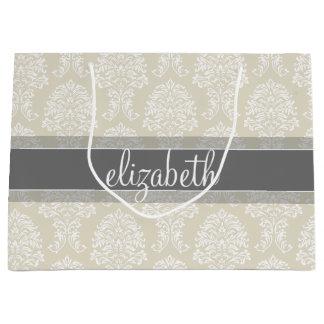 Modelo gris y de lino del damasco del vintage con bolsa de regalo grande