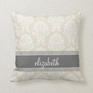 Modelo gris y de lino del damasco del vintage con almohada