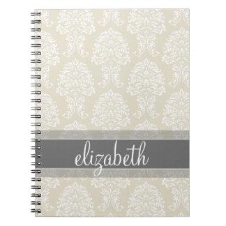 Modelo gris y de lino del damasco del vintage con spiral notebooks
