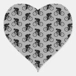 Modelo gris y negro de la bicicleta calcomanías de corazones