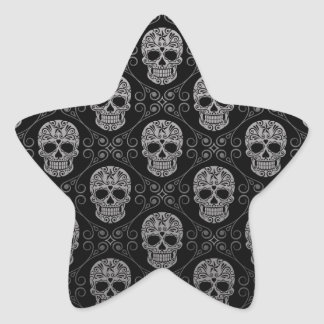 Modelo gris y negro del cráneo del azúcar pegatina en forma de estrella