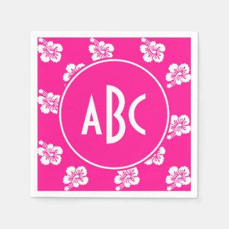Modelo hawaiano de color rosa oscuro y blanco con servilletas de papel