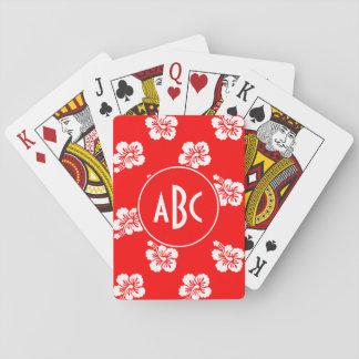 Modelo hawaiano rojo y blanco con monograma barajas de cartas