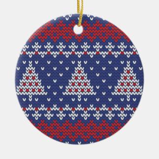 Modelo hecho punto árbol de navidad del rojo azul adorno navideño redondo de cerámica