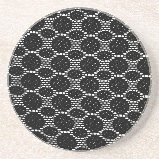 modelo hecho punto cordón negro posavaso para bebida
