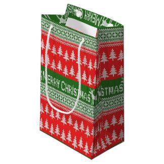 """Modelo hecho punto """"de las Felices Navidad"""" Bolsa De Regalo Pequeña"""