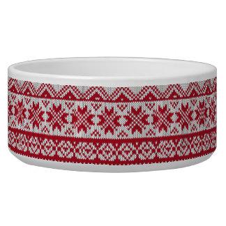 Modelo hecho punto de Navidad en rojo y blanco Tazones Para Perrros