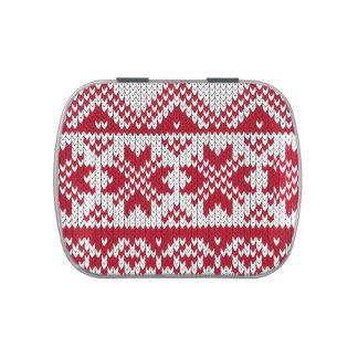Modelo hecho punto de Navidad en rojo y blanco Jarrones De Dulces